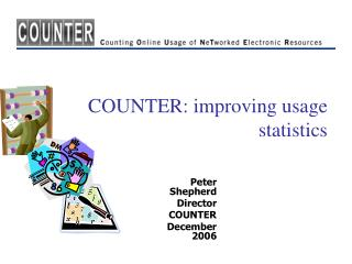 COUNTER: improving usage statistics