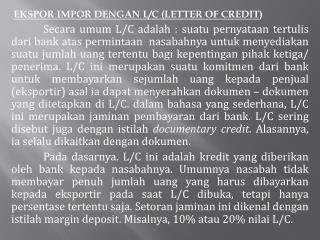 EKSPOR IMPOR DENGAN L/C (LETTER OF CREDIT )