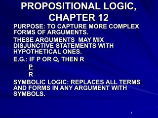 PROPOSITIONAL LOGIC, CHAPTER 12