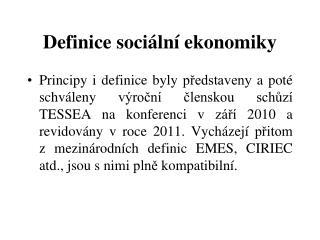 Definice sociální ekonomiky