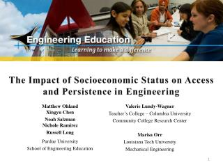 The Impact of Socioeconomic Status on Access and Persistence in Engineering