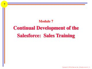 Module 7 Continual Development of the Salesforce:  Sales Training