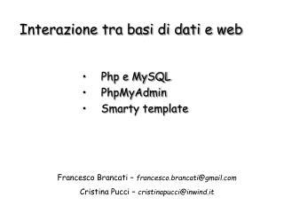 Php e MySQL PhpMyAdmin Smarty template