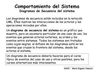 Comportamiento del Sistema Diagramas de Secuencia del sistema