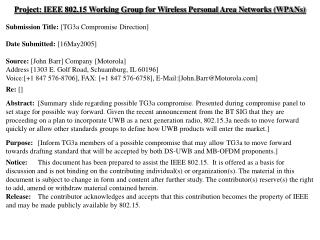 Project: IEEE 802.15 Working Group for Wireless Personal Area Networks (WPANs)