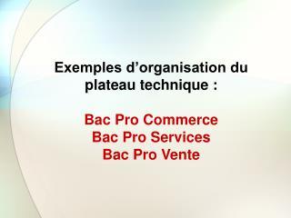 Exemples d'organisation du plateau technique: Bac Pro Commerce Bac Pro Services Bac Pro Vente