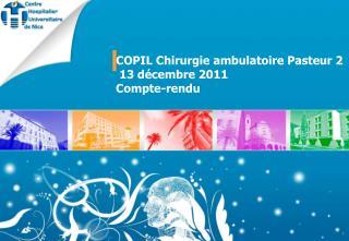 COPIL Chirurgie ambulatoire Pasteur 2  13 décembre 2011 Compte-rendu