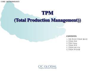 경영 혁신과  TPM 의 필요성 TPM 의 정의 TPM Vision TPM 의 목적 TPM 의  8 대 기능 TPM 의 추진내용