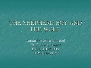THE SHEPHERD BOY AND THE WOLF.