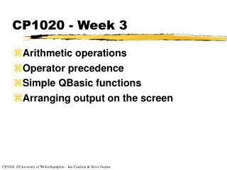 CP1020 - Week 3