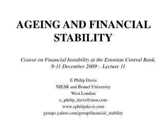 AGEING AND FINANCIAL STABILITY