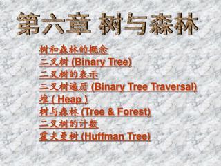 树和森林的概念 二叉树  (Binary Tree) 二叉树的表示 二叉树遍历  (Binary Tree Traversal) 堆 ( Heap ) 树与森林  (Tree & Forest)