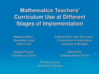 Mathematics Teachers' Curriculum Use at Different Stages of Implementation