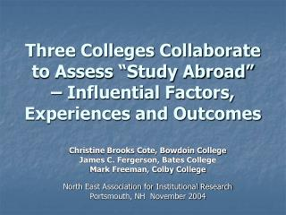 Three Colleges Collaborate to Assess  Study Abroad    Influential Factors, Experiences and Outcomes