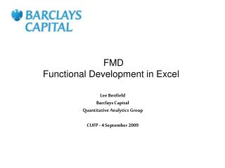 FMD  Functional Development in Excel