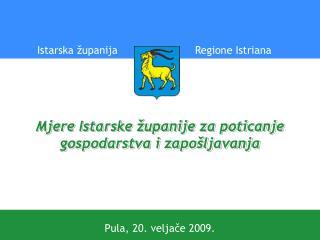 Mjere Istarske županije za poticanje gospodarstva i zapošljavanja
