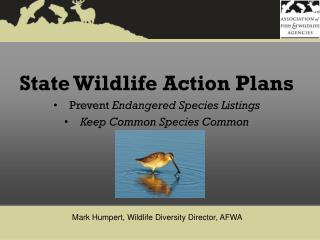 State Wildlife Action Plans Prevent  Endangered Species Listings  Keep Common Species Common