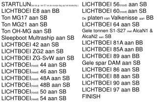 STARTLIJN ( tss de gr. ton E7 en de oranje vlag op het startschip ) LICHTBOEI E8 aan BB