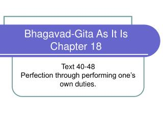 Bhagavad-Gita As It Is Chapter 18