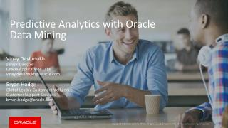 Predictive Analytics with Oracle Data Mining