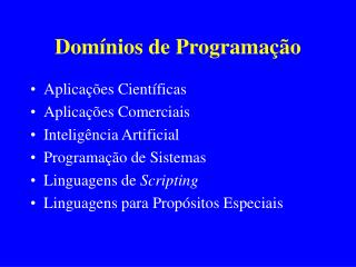 Domínios de Programação