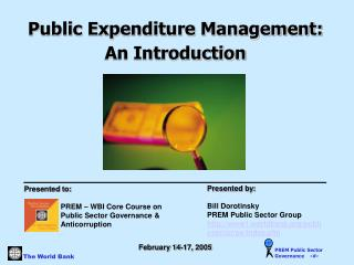 Public Expenditure Management:  An Introduction