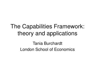 The Capabilities Framework: theory and applications