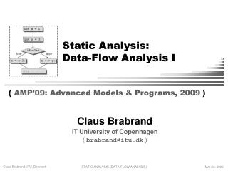 Static Analysis: Data-Flow Analysis I
