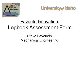 Favorite Innovation: Logbook Assessment Form