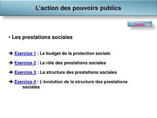 Les prestations sociales Exercice 1  : Le budget de la protection sociale