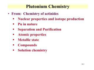 Plutonium Chemistry