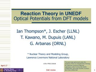 Reaction Theory in UNEDF Optical Potentials from DFT models