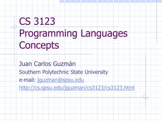 CS 3123 Programming Languages Concepts