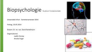 Biopsychologie Studium  Fundamentale