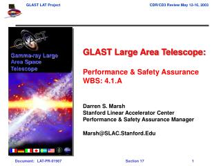 GLAST Large Area Telescope: Performance & Safety Assurance  WBS: 4.1.A Darren S. Marsh