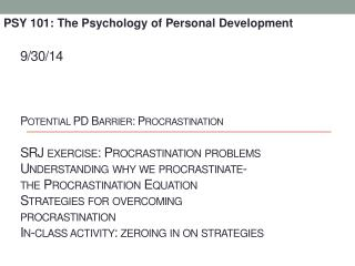 PSY 101: The Psychology of Personal Development