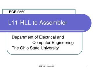 L11-HLL to Assembler