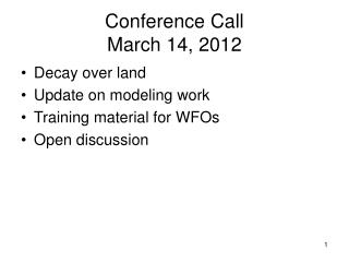 Conference Call March 14, 2012