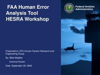 FAA Human Error Analysis Tool HESRA Workshop