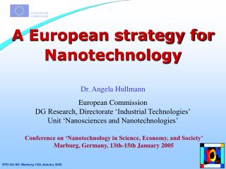 A European strategy for Nanotechnology