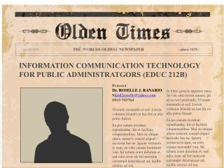 INFORMATION COMMUNICATION TECHNOLOGY FOR PUBLIC ADMINISTRATGORS (EDUC 212B)