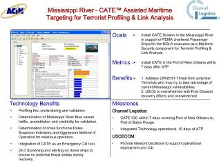 Mississippi River - CATE  Assisted Maritime         Targeting for Terrorist Profiling  Link Analysis
