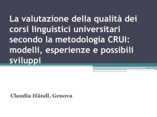 Claudia Händl, Genova