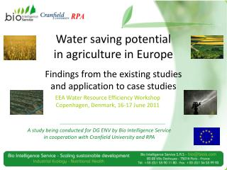 Water saving potential  in agriculture in Europe