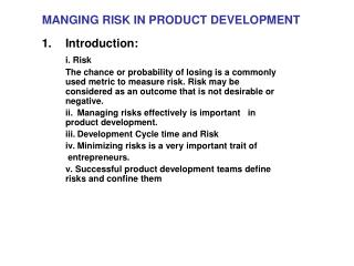 MANGING RISK IN PRODUCT DEVELOPMENT