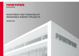 INVESTMENT AND FINANCING OF RENEWABLE ENERGY PROJECTS