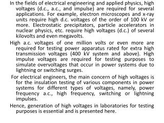 Different forms of high voltages mentioned are classified as ( i )high  d.c . voltages