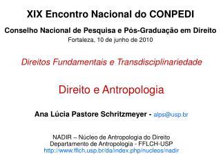Direitos Fundamentais e Transdisciplinariedade Direito e Antropologia