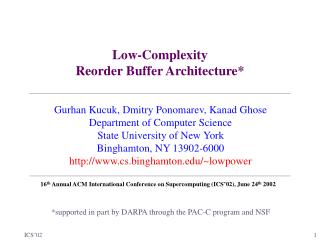 Low-Complexity Reorder Buffer Architecture*
