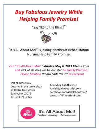 """It's All About  Moi "" is joining Northeast Rehabilitation Nursing Help Family Promise."
